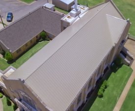Malarkey Highlander AR - Natural Wood and Metal Roof at First Christian Church done by Yates Roofing & Construction