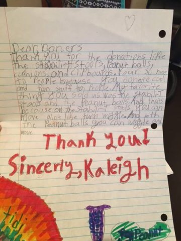 Handwritten thank you note from a student in Mrs. Breshear's 3rd grade class at Fogarty Elementary